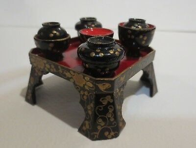 Vintage Japanese Hina Traditional Doll furniture table bowl stand black gold
