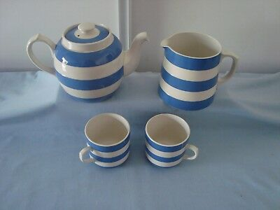 Cornish Ware. Globe Shape High Neck Teapot. Jug & Two Cups.