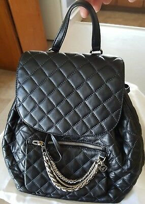 4e7cc358adbc New MICHAEL KORS Cheyenne Quilted Leather Flap Backpack Black Chain  drawstring