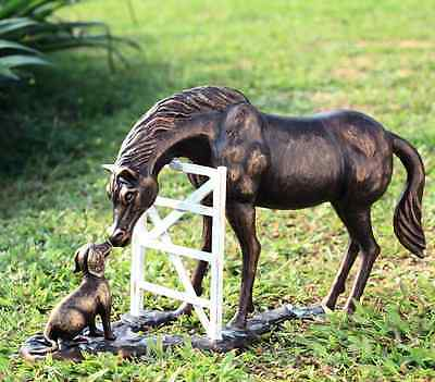 "Barnyard Pals Horse & Dog Friends Garden Sculpture Mare Farmhouse Statue 25""W"