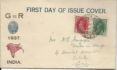 1937 FDC 9ps & 1A GV1 Calcutta Postmarks Front and Rear Sold as Per Scans