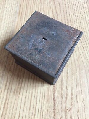 Antique Vintage Secret Compartment Tin, With Slate Writing Tools