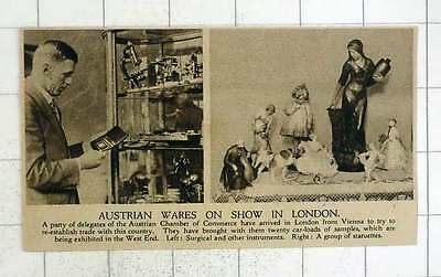 1920 Austrian Chamber Of Commerce Show In London Surgical Instruments And Statue