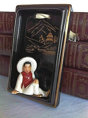 Mid Century Occupied Japan Plaque Wall Decoration 3D In relief Peasant Moriyama