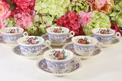 """Gorgeous, Copeland Spode, """"Mayflower"""" Lavender #2/8772- Cups/Saucers (6)"""