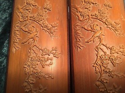 Signed Pair Bamboo Scroll Weight/Calligrapher's Guide - Cherry Blossom and Birds