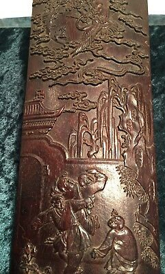 Chinese Chen Xiang Wood Scroll Weight/Calligrapher's Guide, Children & Mythology