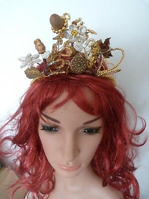 Vintage Headdress,with Gold And Silver Bullion Wire,natural Elements