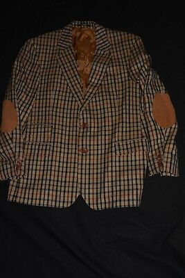 Vintage Daks Signature Jacket Tan/black/beige Check Suede Trim