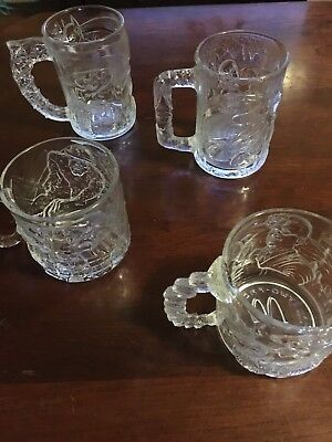 BATMAN FOREVER MOVIE McDONALDS GLASS SET GLASS MUGS 4 PIECES 1995 ROBIN RIDDLER