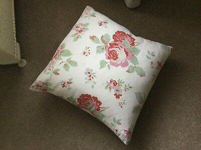 Quality Vintage Tea Rose Fabric Cushion Cover With New Feather Pad Shabby Chic