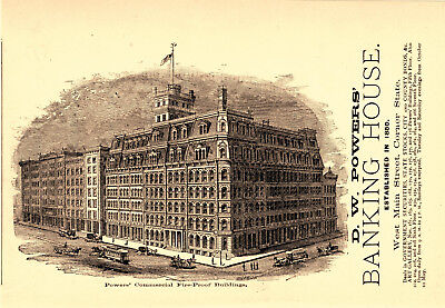 1883 D. W. Powers Banking House, Rochester, New York Bank Scene Advertisement