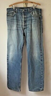 Levis Jeans 501 Vintage 80s 90s 37x32 Actual Indigo Blue Distressed Made in USA