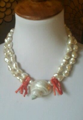 Coral and Mother of Pearl Shell 2 strings summer statement necklace