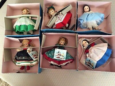 Lot of 6 Madame Alexander International Dolls with ORIGINAL BOXES & Stands