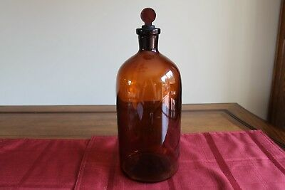VINTAGE Large antique amber apothecary Brown Round glass bottle jar w/ stopper