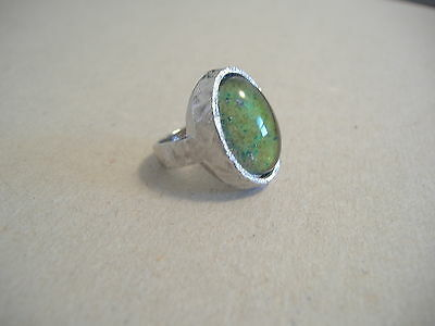 Vintage Antique Silver Tone Oval Mood Ring Size 5 1/2 Solid Bnd.