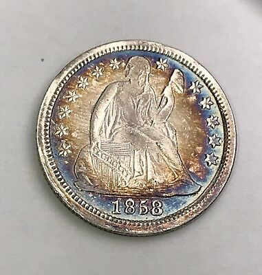 1858 Liberty Seated Silver Dime. TONED Collector Coin For Your Collection.
