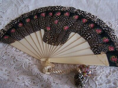 Vintage Feather Decorated Ladies Fan