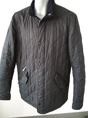 Mens Barbour Black Chelsea Quilted Jacket Coat Medium
