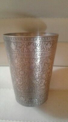 Vintage Indian Silver & Brass Lassi Cup, Etched