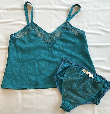 Vintage Victorias Secret Women L Lingerie Set Green Satin Lace Cami Tank Bottoms