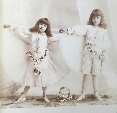 1890's TWO YOUNG GIRL BALLET DANCERS BALLERINAS CABINET CARD PHOTO Chicago Ill