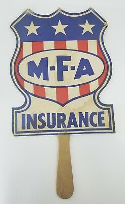 Vintage MFA Insurance Advertising Cardboard Collectible Hand Fan Stars & Stripes