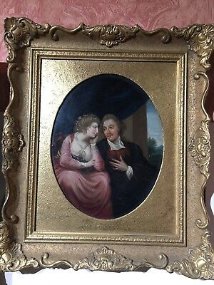 Fine 19th Century English school Portrait of loving couple Antique Oil Painting