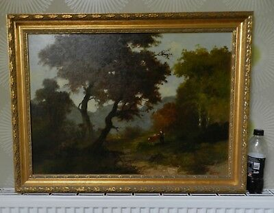 Old Antique Oil Painting on board English Landscape Pastoral 81cm x 61cm
