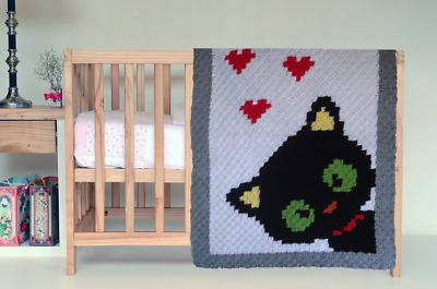 Hand-crochet wool halloween baby blanket/Favourite children quilt with Black Cat