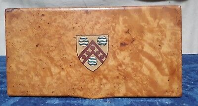 Antique Burr Satinwood Box Emblazoned With A Coat Of Arms.