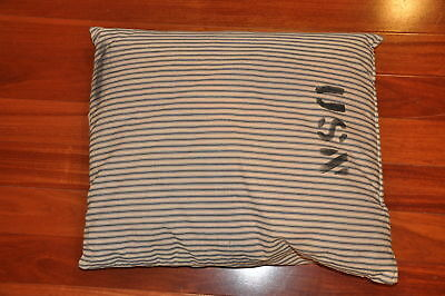 "Rare WW2 Navy Ship Pillow 18"" x 15"" Marked USN; stripped birth bunk"