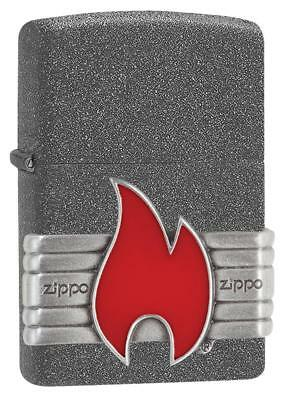 Zippo Windproof Iron Stone Lighter With Vintage Flame Emblem, 29663, New In Box