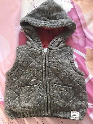 Baby Infant Boy Girl Pumpkin Patch Thick Warm Hooded Hoodie Vest Grey Size 0