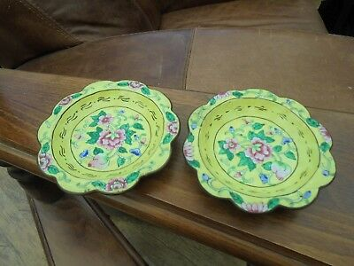 A Vintage/Antique Pair of Cloisonné & Hand Painted Dishes.See Photos. No Reserve
