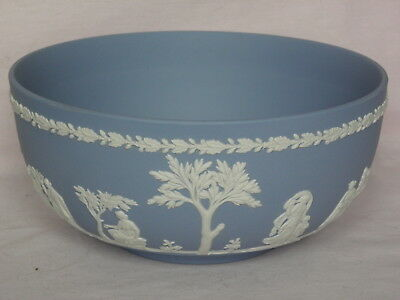 Wedgwood Jasperware, Large Open Bowl - Fruit, Blue with White Relief, 20cm - 8""