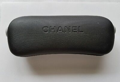 Chanel SUNGLASSES GLASSES CASE MADE IN ITALY BLACK HARD CLAM SHELL LUXURY COCO