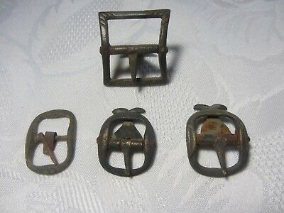 LOT OF 4 AUTHENTIC MEDIEVAL - 1800th BRASS BELT BUCKLES FROM GERMANY
