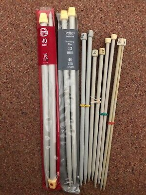 Job Lot 6 X Pairs Chunky Knitting Needles 7 Mm 8 Mm 9 Mm 10 Mm 12 Mm 15 Mm