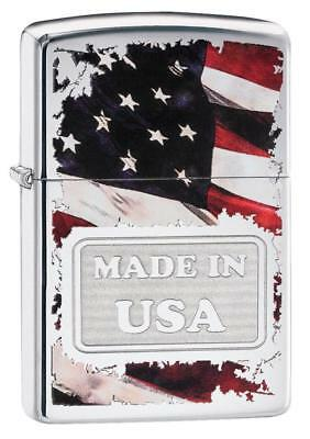 Zippo Windproof Lighter With Made in the USA & American Flag, 29679, New In Box