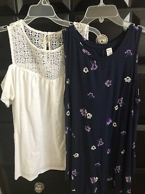 Lot Of Two Old Navy Tops Size Medium Navy Floral And White Off Shoulder--CUTE!!