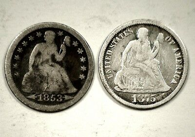 1853-P & 1875 Seated Liberty Dime - 2 Coin Lot