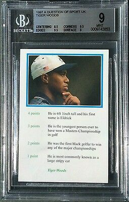 Tiger Woods Rookie Card 1999 Bbc A Question Of Sport # Bgs 9 Mint