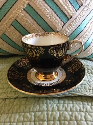 Black and Gold Royal Grafton Footed Tea Cup & Saucer, Gold Trim Bone China