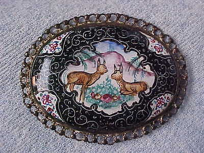 Enameled Pendant Vintage 1930s with Deer & Mountain, Lace Filigree