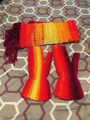 Hand Crocheted Scarf and Mittens Set