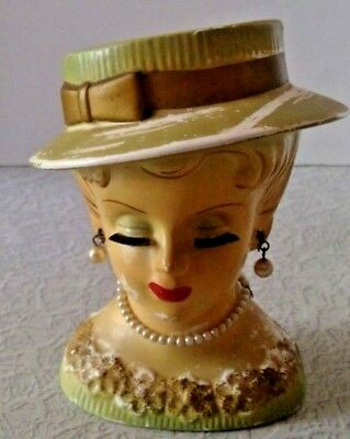 Vintage Napcoware Lady Head Vase Mint Green Gold Dress - Original Jewelry 5""