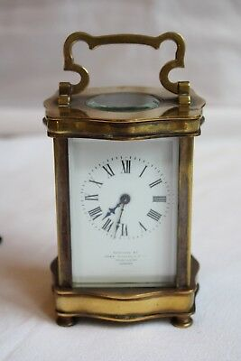 Antique Brass Carriage Clock With Case Serpentine Shape Gwo London Retailer