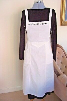 Vintage Style Maids  Apron In White Cotton And Lace